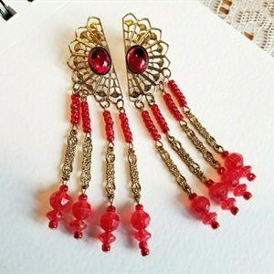 Vintage big red dangle earrings gold tone long